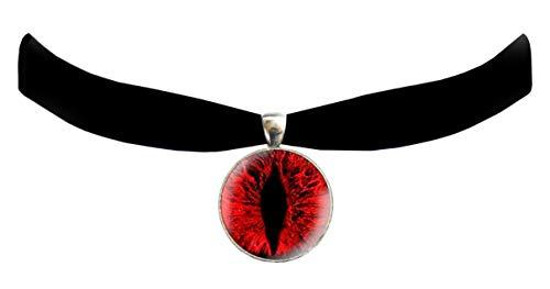Victorian Vault Cat Dragon Eye Black Velvet Choker Steampunk Gothic Pendant Necklace (Red) Cat Eye Choker Necklace