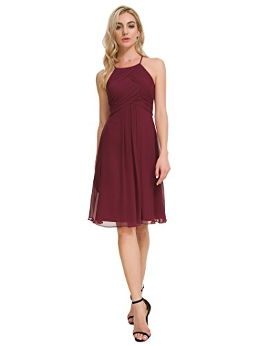 Alicepub Chiffon Bridesmaid Dresses Halter Cocktail Dress Short Homecoming Party Dresses, Burgundy, - Jewels Jr
