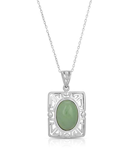 Regalia by Ulti Ramos 925 Sterling Silver Jade Pendant Charm Necklace Natural Stone Fine Jewelry Gifts for Women for Her (18 Inch .925 Sterling Silver Chain)