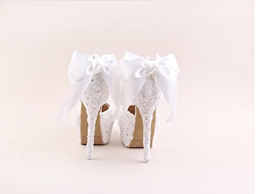 High A Taiwan Shoes Heeled VIVIOO Flower Shoes Wedding Bride Prom 5 Ab Waterproof 14Cm Wristband 5 Sandals Heel Sandals Drill White Lace Round Bow wn8w6x4qI