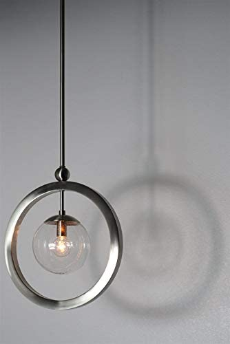 Kira Home Lucia 14.5 Modern Ring Pendant Light Seeded Glass Orb, Adjustable Height, Brushed Nickel Finish