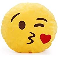 KIHOME Smiley Thick Plush Pillow Round Cushion Pillow Stuffed/Gift for Kids/for Birthday Gift -30CM, Yellow (Kissable Smiley)