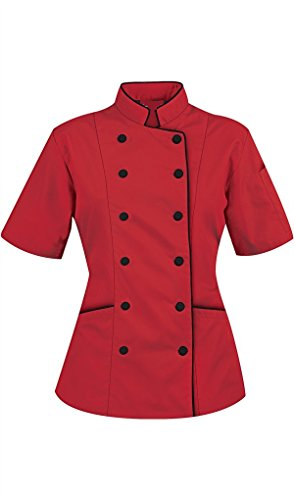 Chef Attires Short Sleeves Women's Ladies Chef's Coat Jackets M (to Fit Bust 36-37), Red