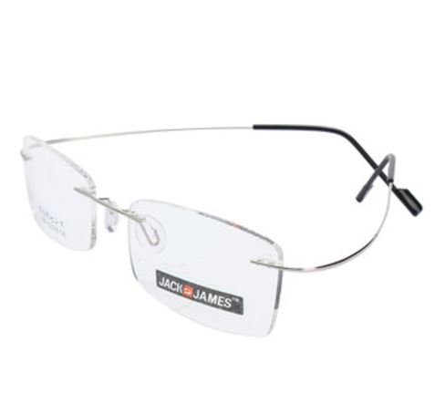 Color:Silver # Hingeless Rimless β-Titanium Flexible Eyewear Eyeglasses Frame Plain Lens by - For Oakley Kids Eyeglasses