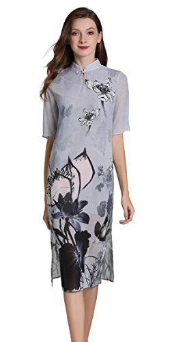 - Shineflow Women's Vintage Short Sleeve Lotus Flowers Painting Print Qipao Cheongsam Midi Cocktail Dress (Grey, M)