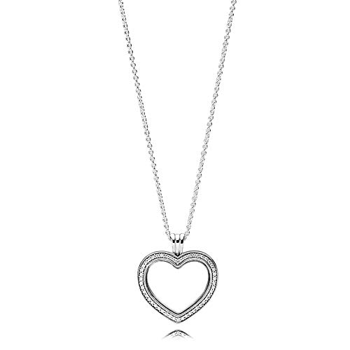 (Pandora Sparkling Floating Heart Locket Necklace 397230CZ60)