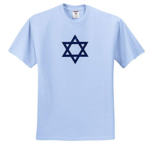 Alexis Design - Star of David - Dark Blue Star of David Decorated with Blue Stars on White - T-Shirts - Light Blue Infant Lap-Shoulder Tee (6M) (ts_300034_74)