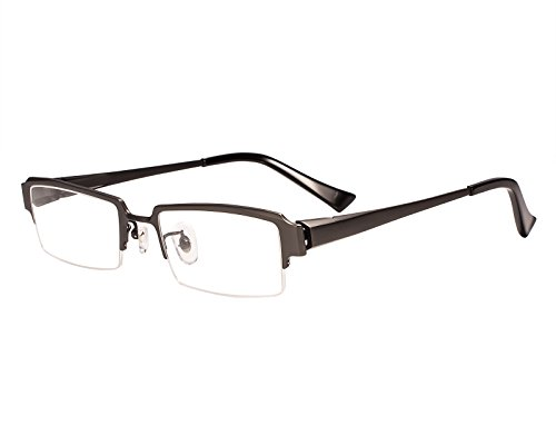 Agstum Pure Titanium Half Rim Optical Business Glasses Frame Clear Lens Rx (Gunmetal