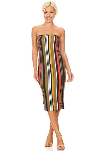 Lined Tube Top Body-Con Midi Dress/Made in USA Olive Rust Stripe L (Rust Olive)