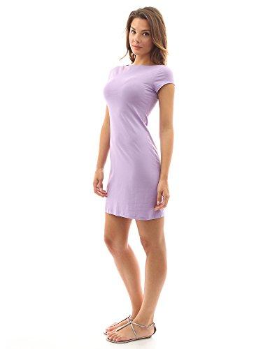 PattyBoutik Femmes L'elegante mini robe d'un col bateau  manches courtes Violet Clair