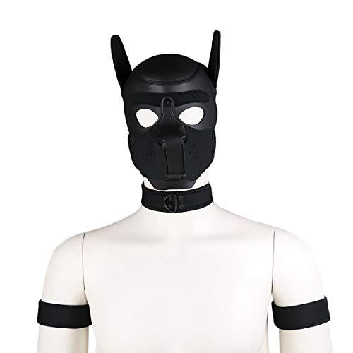 HOT TIME Neoprene Custom Collar Choker And Armband Combo Set, NO HOOD MASK ONLY COLLAR AND ARMBAND (Black)