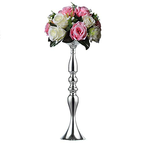 Sfeexun 1 Pcs Tall Metal Vase for Wedding Centerpieces Decoration-Artificial Flower Arrangement-Pillar Candle Holder Stand Set for Wedding Party Dinner Event Centerpiece Home Decor (Silver, 19.7