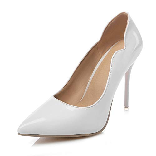 JOYBI Women's Stiletto High Heel Pointed Closed Toe D'Orsay Slip On Dress Party Wedding Evening Pumps Shoes White ()