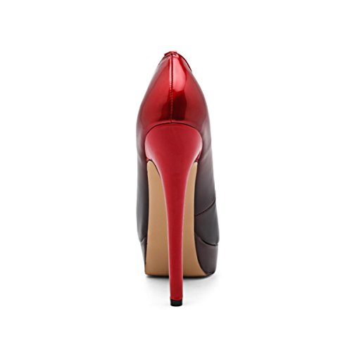 Toe Peep Red Slip Dress and On Stiletto onlymaker Sexy High Platform Wedding Party Heels Shoes Black Women's Pumps STnHq1X