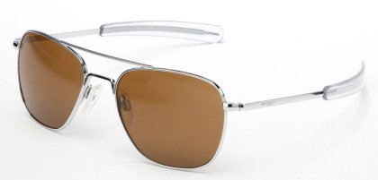 Randolph AVIATOR Bright Chrome Frame (Bayonet Temple Style) (Tan Polarized, 55mm) by Randolph Eyewear