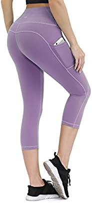 ALONG FIT Yoga Pants for Women mesh Leggings with Side Pockets Mid Waisted Leggings