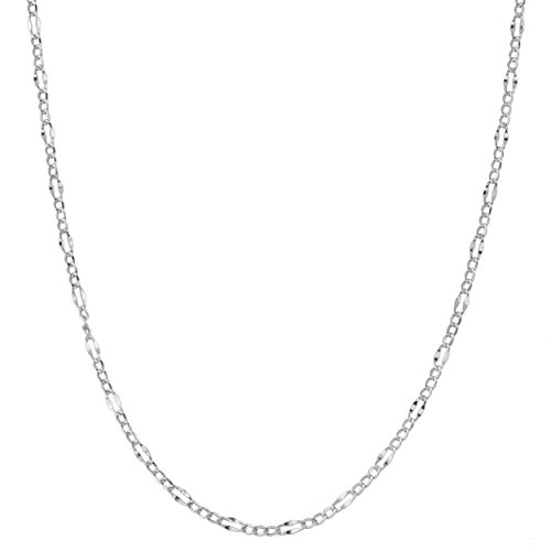 Kooljewelry 14k White Gold 2.3 mm Hollow Figaro Link Chain Necklace (16 inch)
