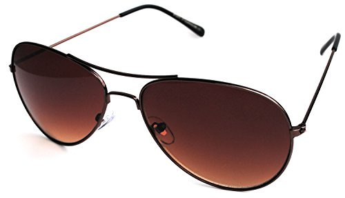 Aviator Style Sunglasses Bronze Color Metal Frame Men Women Brown - Sunglasses Bronze