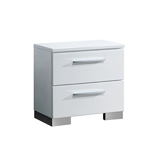 HOMES: Inside + Out ioHOMES Aria High Gloss Lacquer Finish 2-Drawer Nightstand, White