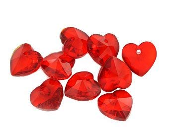 Red 20pcs 14mm Heart Faceted Crystal Glass Loose Hanging Pendants Beads - Glass Bird Beads