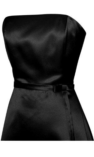 50s Strapless Satin Long Bridesmaid Prom Dress Formal Junior Plus Size, 3X, Black