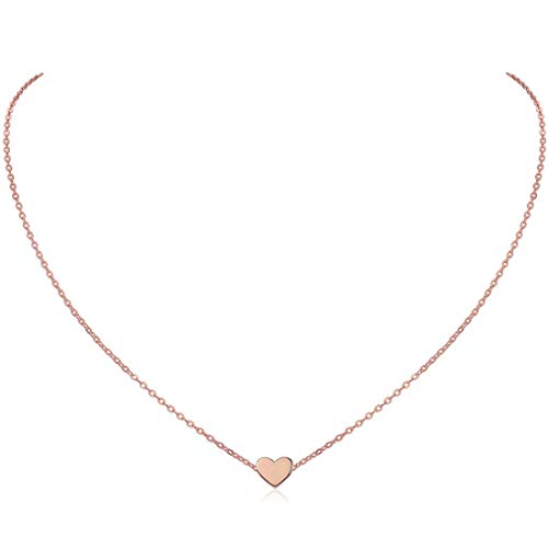 (ChicSilver Rose Gold Plated Sterling Silver Tiny Heart Pendant Necklace Endlessness Love Dainty Necklace)