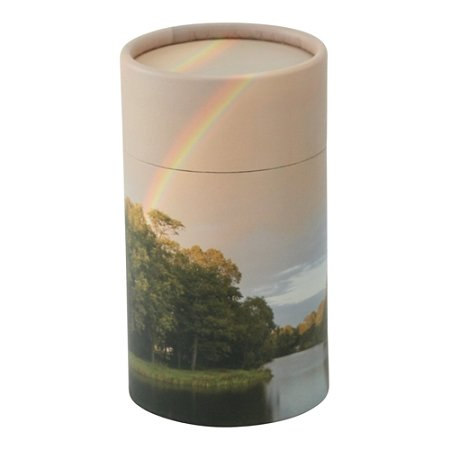 Silverlight Urns Rainbow Pond Scattering Tube, Extra Small Cremation Urn for Ashes, Cardboard Biodegradable Mini Urn, 5.25 x 3 (Rainbow Urn)