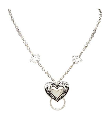 Ornate Filagree (New Eyeglass / Id Badge Holder Necklace Lanyard with Ornate Heart Pendant)