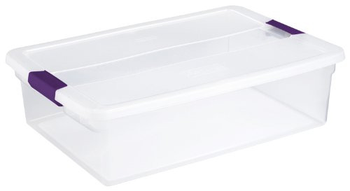 Sterilite 17551706 32 Quart/30 Liter ClearView Latch Box, Clear with Sweet Plum Latches, 6-Pack (Storage Sterilite Bins)
