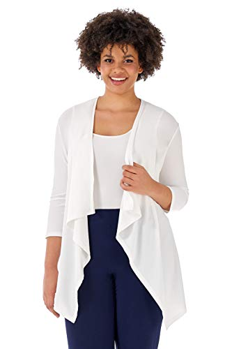 Rekucci Travel in Style - Curvy Woman Essential Plus Size Throw Over Jacket (2X,Off White)