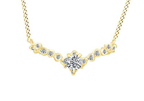 Unique Rose-Shape White Diamond Blossom Snowflake Pendant Necklace 14K Solid Yellow Gold (0.35 Cttw, I2-I3, G-H) ()