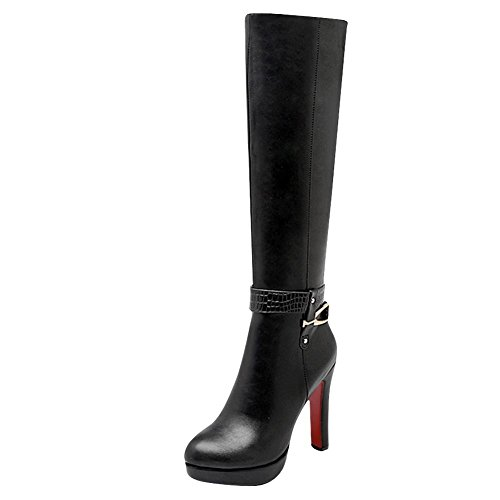 Mee Shoes Women's Chic Zip High Block Heel Knee High Boots Black
