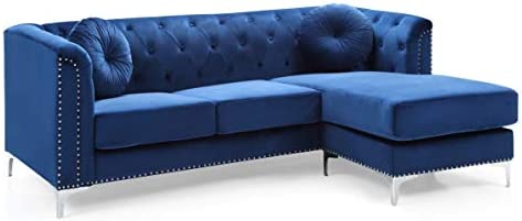Glory Furniture Pompano Sofa Sectional, Navy Blue. Living Room Furniture, 31″ H x 70″ W x 58″ D