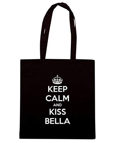Borsa Shopper Nera TKC0773 KEEP CALM AND KISS BELLA