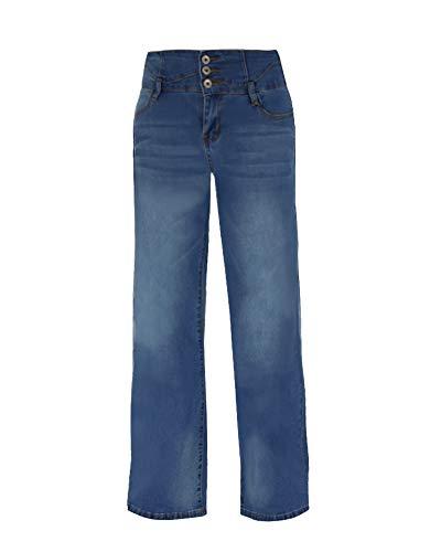 (Minghe Women's Wide Leg Jeans Retro High Waisted Curvy Stretch Bootcut Denim Jean)