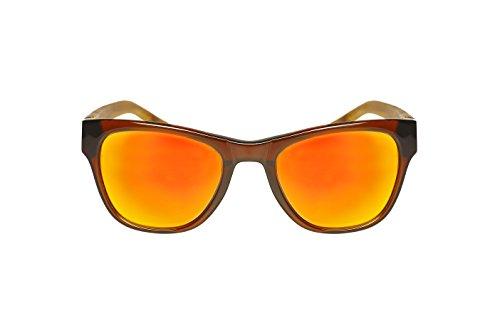 8wake Bamboo Wayfarer POLARIZED Sunglasses Featuring Mirror Lenses, Includes Soft Case, Poplar Brown Orange - Inexpensive Best Sunglasses Polarized