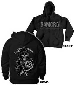 Anarchy Hooded Sweatshirt - Sons of Anarchy Samcro Boxed Reaper Black Adult Hoodie Hooded Sweatshirt (Adult XX-Large)