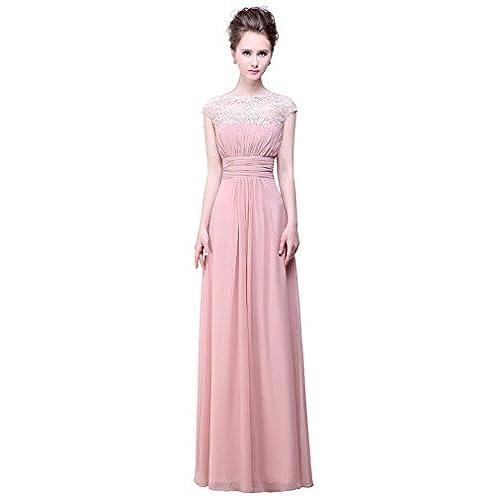 Bislu Cap Sleeve Lace Neckline Prom Evening Gown Bridesmaid Dress Blush 8