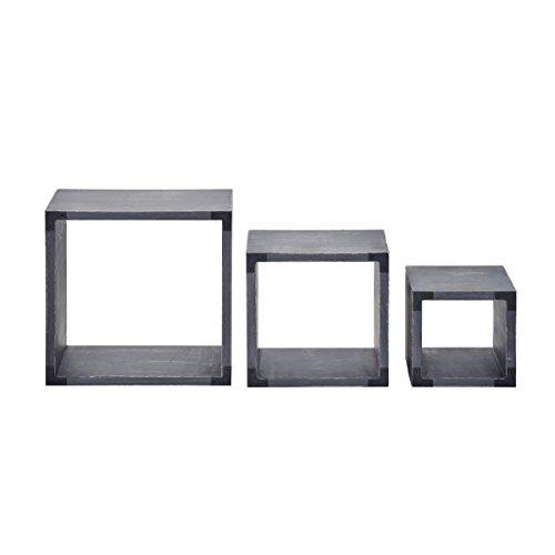 MELANNCO - Juego de Cubos Cuadrados de Madera Oscura Envejecida (3 Unidades), Negro, 1