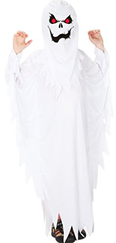 Kids Ghost Costumes (Kids Scary White Ghost Role Play Boys Spirit Halloween Cosplay Dress Up Costumes (Medium))