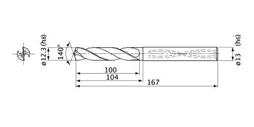 12.3 mm Cutting Dia 2.2 mm Point Length Internal Coolant Mitsubishi Materials MVS1230X05S130 MVS Series Solid Carbide Drill 5 mm Hole Depth 13 mm Shank Dia.