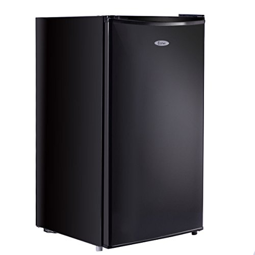 Costway Min Refrigerator Small Freezer Cooler Fridge,3.2 Cu Ft Unit, Stainless Steel,Black