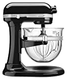 KitchenAid KSM6521XOB Professional 6500 Design Series Onyx Black Bowl-Lift Stand Mixer with 6 Quart Glass Bowl For Sale