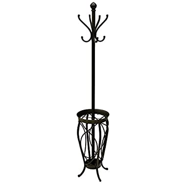 Sleek and Chic Charleston Coat Rack with 8 Hooks and an Umbrella Holder Base in Black Made of Steel - 13.5  W X 13.5  D X 69  H