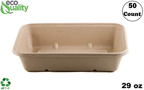 [50 Pack] 29oz Compostable Eco Friendly Container Trays - Rectangular Oblong Tree Free Sugarcane Bagasse Meal Prep Bento Boxes Take Out Catering Microwavable Deep Container by EcoQuality