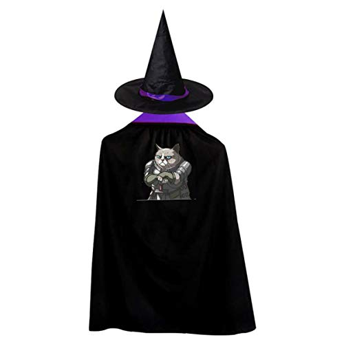 Cool Cat Kids' Witch Cape With Hat Simple Vampire Cloak For Halloween Cosplay Costume -