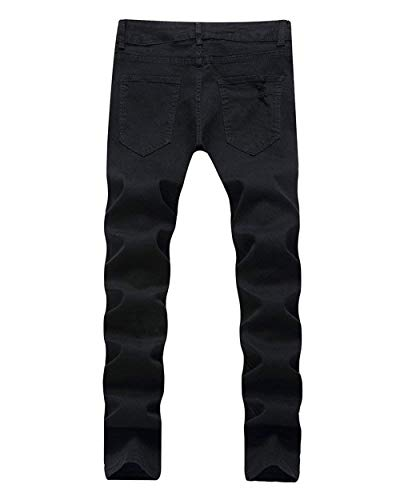 Holes Denim Slim Uomo Da Distrutto Jeans Retro Nero Ginocchio Pantaloni Ufig Fit Pants Classico Pocket Casual qR0aE7z