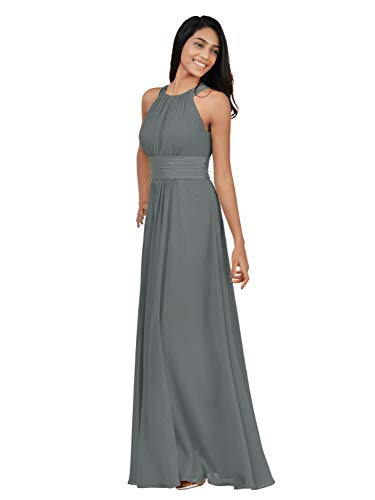 Alicepub Chiffon Bridesmaid Dresses Long for Women Formal Evening Party Prom Gown Halter, Steel Grey, US8