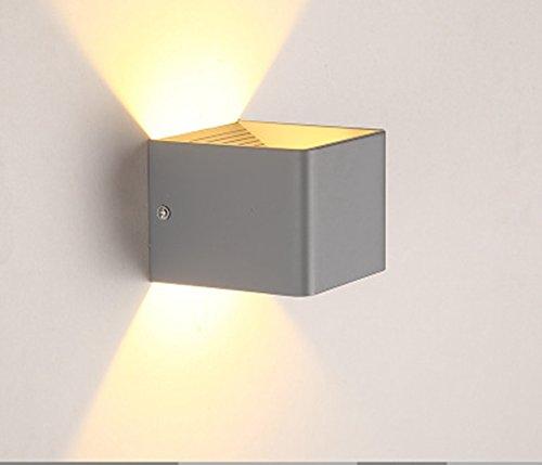 7W LED Wandlampen Wandleuchte Treppenhaus Bunt Wandbeleuchtung Wandlicht Innen Up Down 3000K Warmweiß 800Lm, Für Wohnzimmer Schlafzimmer Balkon Resultierende (Farbe   grau)