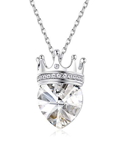Sllaiss Love Heart Pendant Necklace with Crystals from Swarovski,You are My Queen Necklace Crown Jewelry for Women with Gift Box